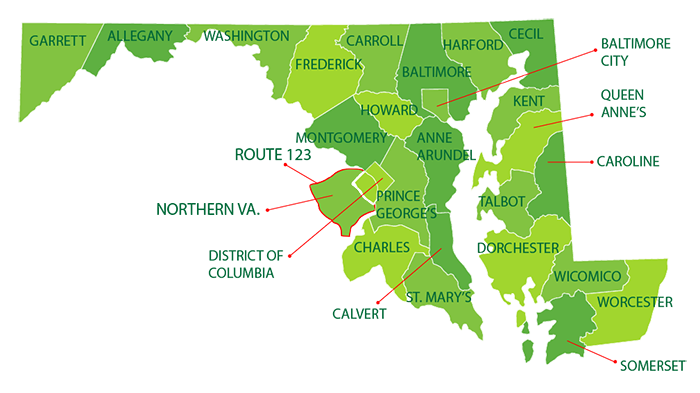 Map of Maryland, D.C. and Northen Virginia naming all of the counties in CareFirst's Service Area