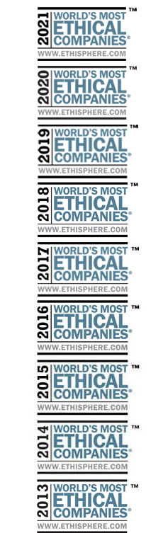 Awarded as one of the World's Most Ethical Companies 2015, 2014 and 2013 by www.ethisphere.com